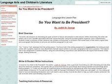 So You Want to Be President Lesson Plan
