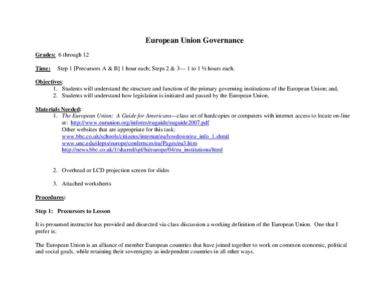 European Union Governance Lesson Plan