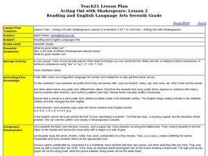Acting Out with Shakespeare: Lesson 2 Lesson Plan
