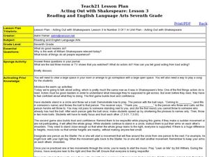 Acting Out with Shakespeare: Lesson 3 Lesson Plan