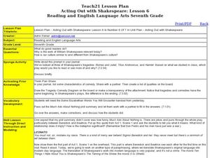 Lesson Plan - Acting Out with Shakespeare: Lesson 6 Lesson Plan
