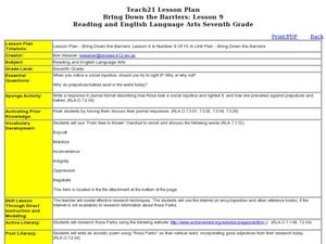 Bring Down the Barriers: Lesson 9 Is Number 9 Of 15 In Unit Plan Lesson Plan