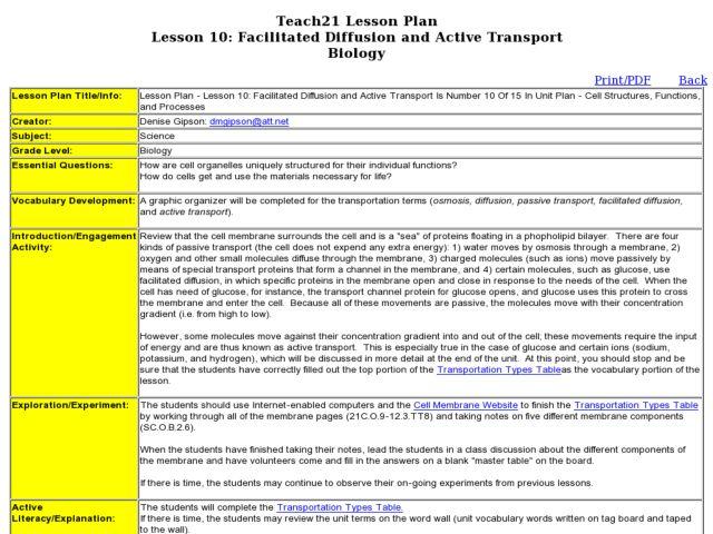 Facilitated Diffusion and Active Transport 9th - 10th Grade Lesson ...