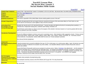 My Secret War: Lesson 3 Lesson Plan