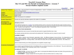 The US and WV: In Pursuit of Independence - Lesson 7 Lesson Plan