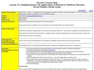 Lesson 11: Enlightenment: An Application of Reform to Political Theories Lesson Plan
