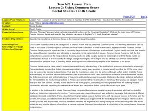 Lesson 2: Using Common Sense Lesson Plan