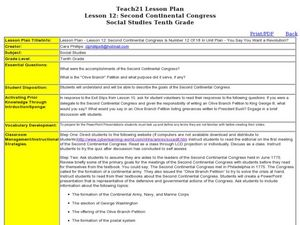 Lesson 12: Second Continental Congress Lesson Plan