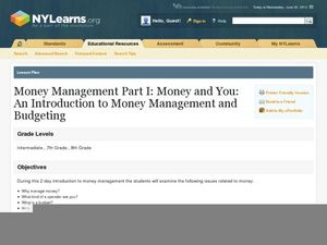 Money Management Part I: Money and You: An Introduction to Money Management and Budgeting Lesson Plan