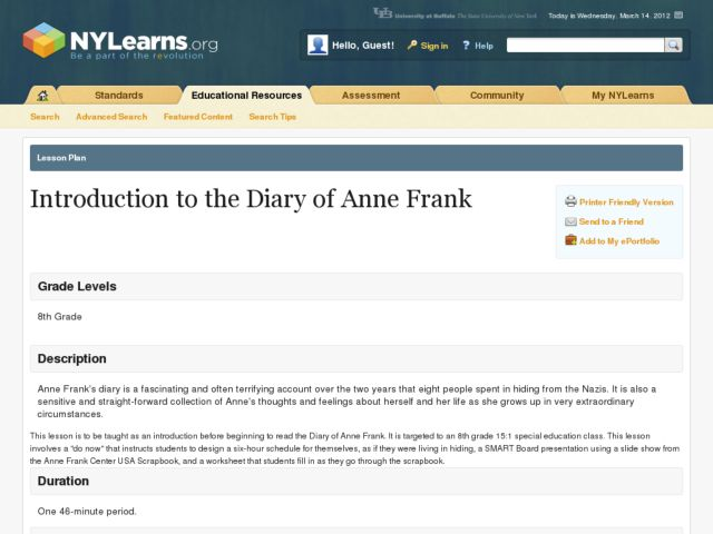 Introduction to The Diary of Anne Frank Lesson Plan