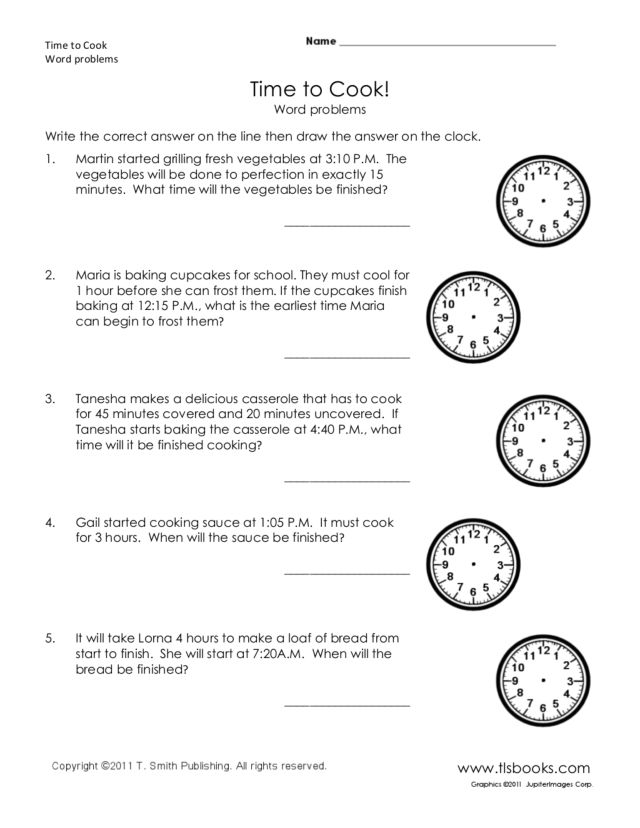 time to cook word problems worksheet for 1st 3rd grade lesson planet. Black Bedroom Furniture Sets. Home Design Ideas