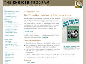 The U.S. and Iran: Confronting Policy Alternatives Lesson Plan