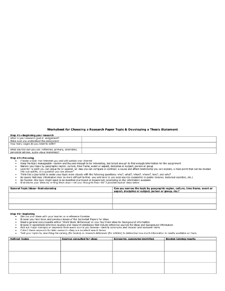 worksheet for choosing a research paper topic  developing a thesis   worksheet for choosing a research paper topic  developing a thesis  statement graphic organizer