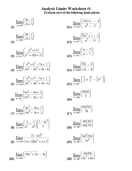 limits worksheet with answers pdf