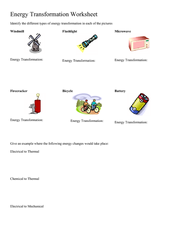 Energy Transformation Lesson Plans & Worksheets | Lesson Planet