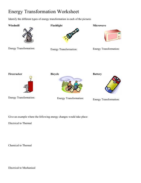 Energy Transformation Worksheet Worksheet for 5th - 8th Grade ...