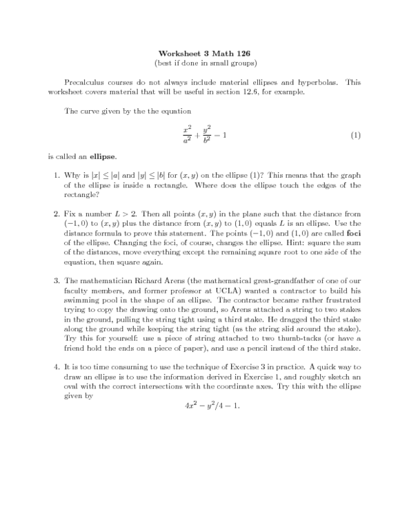 Worksheet 3 Math 126 Ellipses And Hyperbolas Worksheet