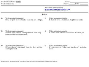 Write the Counterexample Problems Worksheet for 7th - Higher Ed ...