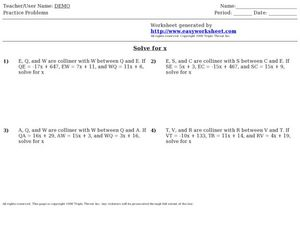 collinear points and the segment addition postulate - Segment Addition Postulate Worksheet