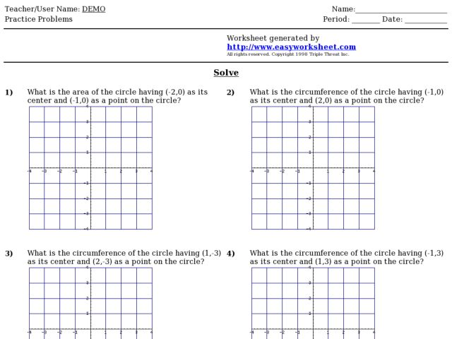 Coordinate Grid Area and Circumference of Circles 9th 12th – Polygons in the Coordinate Plane Worksheet