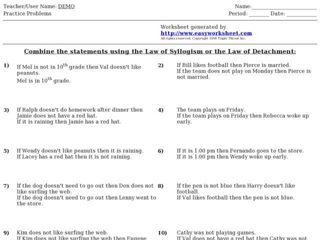 Law Of Syllogism Worksheet - Checks Worksheet