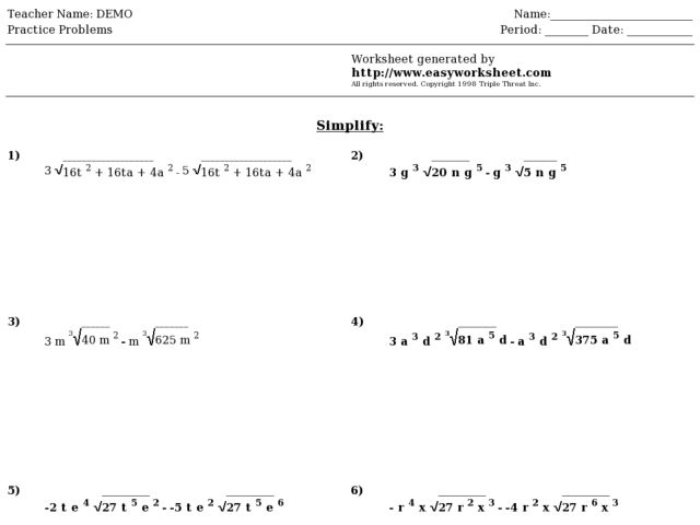 Easy Worksheet: Simplifying Radical Expressions Worksheet ...
