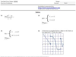 Finding the Limit: Piecewise Functions and Graphs Worksheet ...