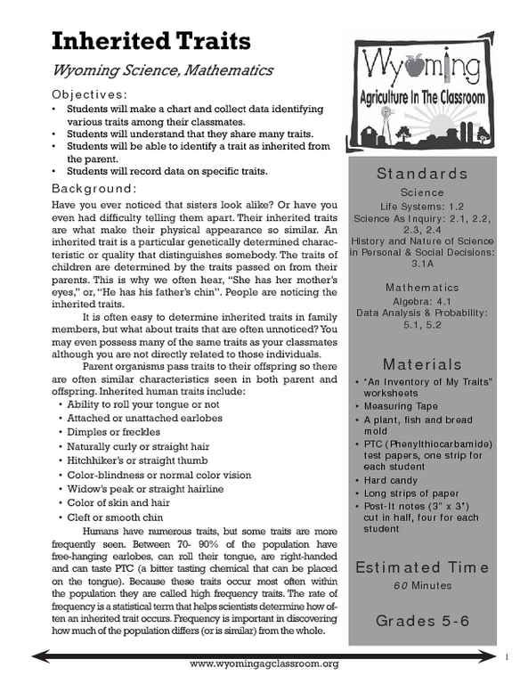 Inherited Traits Lesson Plans Worksheets Reviewed by Teachers – Genetic Traits Worksheet