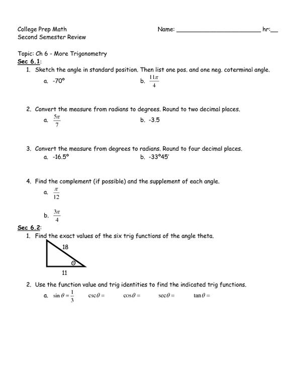 Ten Trigonometric Review Problems - Calculator Required