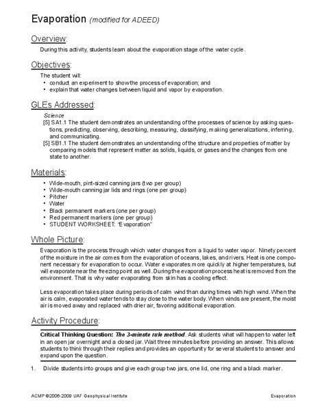 Evaporation Lesson Plans Worksheets Lesson Planet