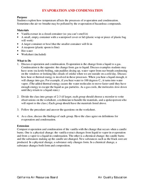 Evaporation And Condensation Lesson Plans Worksheets