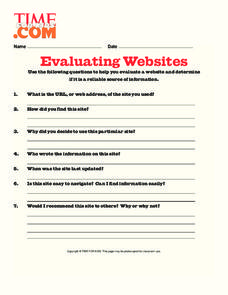 Website Evaluation Lesson Plans & Worksheets Reviewed by ...
