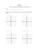 Unit 5 WS 5: Transformations of Absolute Value Functions Worksheet