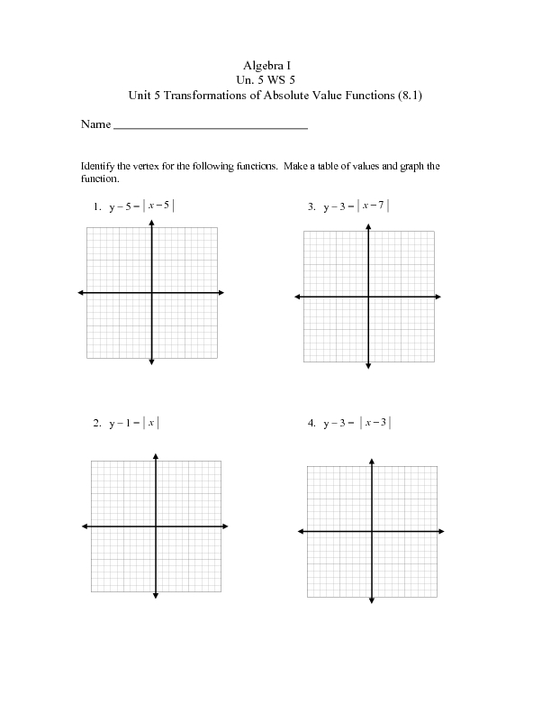 Unit 5 WS 5 Transformations of Absolute Value Functions 9th – Graph Transformations Worksheet