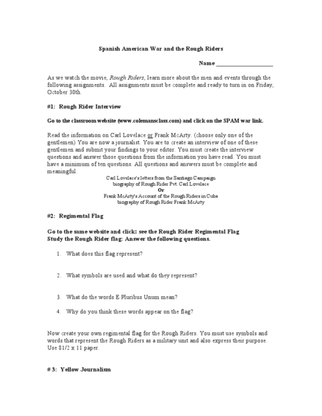 Spanish American War and the Rough Riders Worksheet
