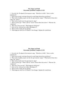 The Grapes of Wrath - Discussion Chapters 22-30 Worksheet