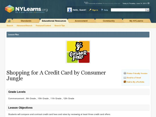 shopping for a credit card lesson plan for 9th