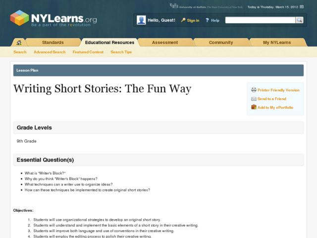 Writing Short Stories: The Fun Way Lesson Plan