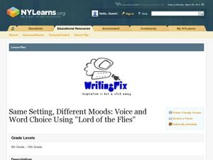 Same Setting, Different Moods: Voice and Word Choice Using Lord of the Flies Lesson Plan