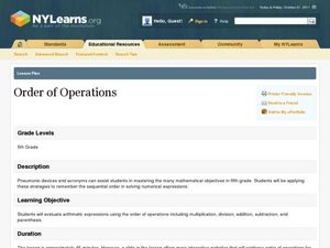Order of Operations - NYLearns.org Lesson Plan