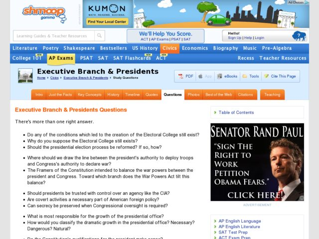 Executive Branch Presidents Questions Worksheet For 8th