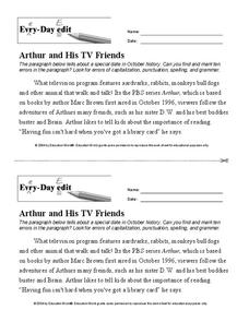 Every Day Edit - Arthur and His TV Friends Worksheet