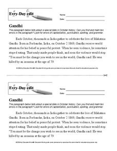 Every Day Edit - Gandhi Worksheet