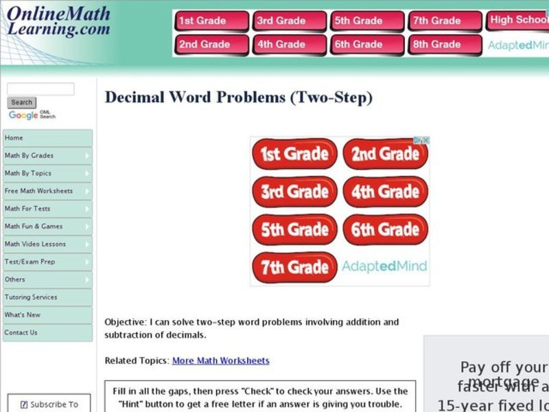 Decimal Word Problems Two Step Interactive For 5th Grade
