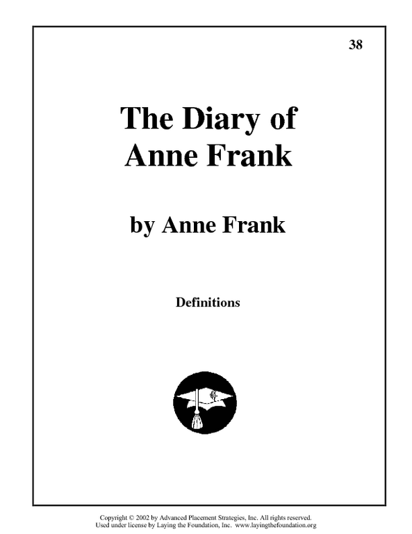 The Diary of Anne Frank Vocabulary Worksheet for 7th - 9th ...