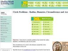 Circle Problems - Radius, Diameter, Circumference and Area Interactive