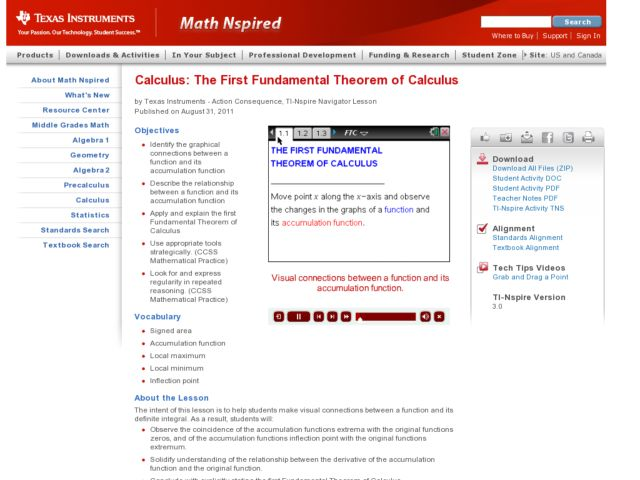 The First Fundamental Theorem of Calculus Lesson Plan for 9th - 12th