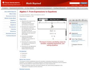 From Expressions to Equations Lesson Plan