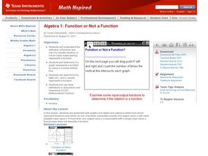 Function or Not a Function Lesson Plan