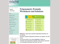 Trigonometry Formula Worksheet Interactive
